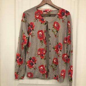 Boden floral knit button down cardigan tan red 14